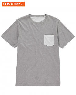 Custom Printed Grey Pocket T Shirts
