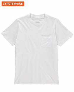 Custom Printed White Pocket T Shirts