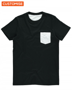 Custom Printed Black Pocket T Shirts